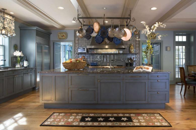 blue-kitchen-island