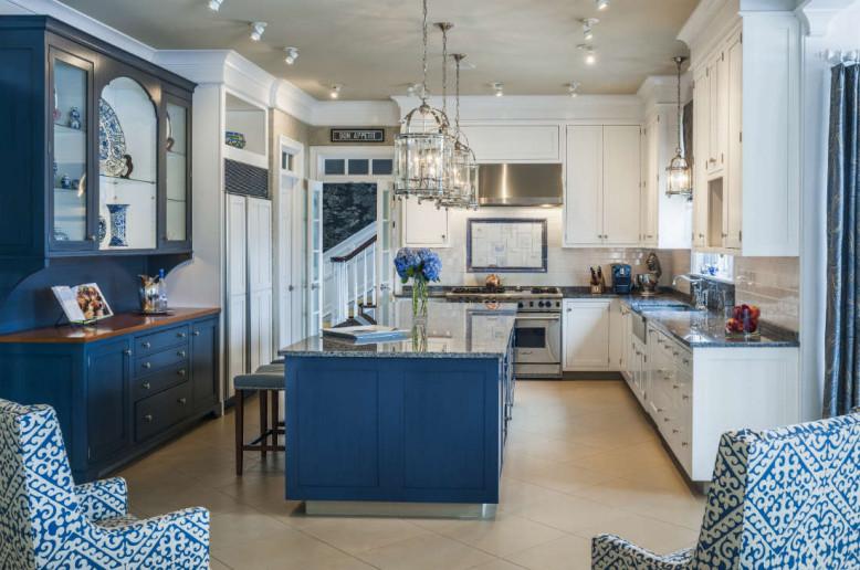 blue-kitchen-island-white-cabinets