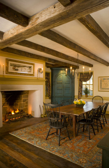 farmhouse-wood-beam-dining-room