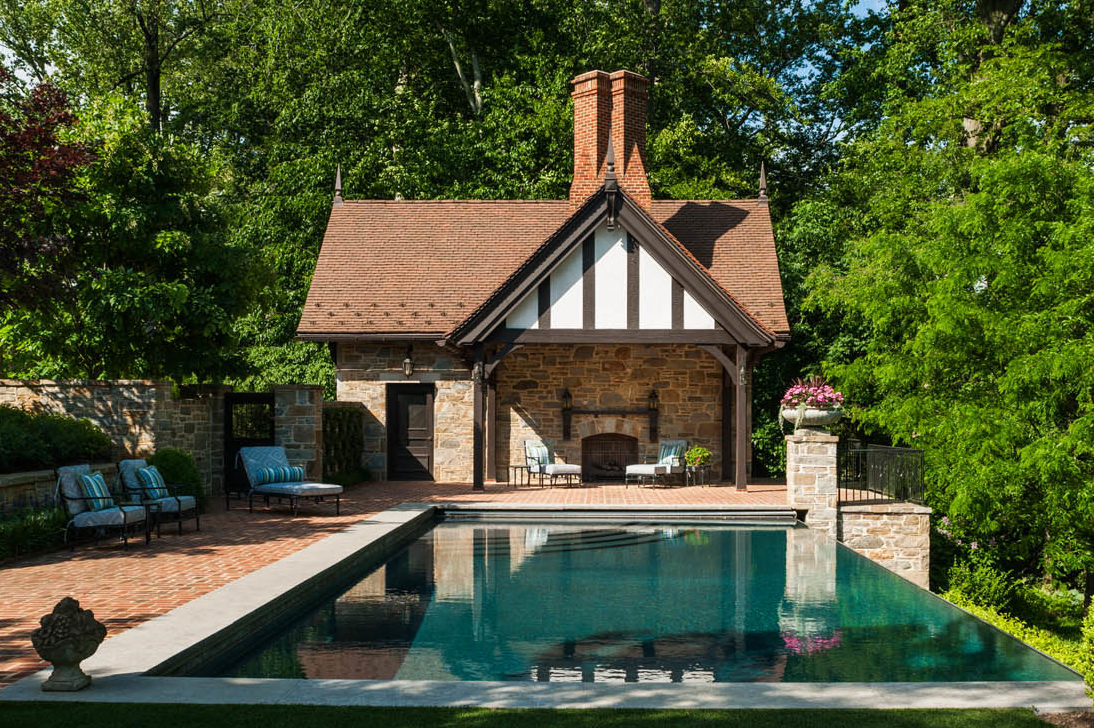 Pool House Stone Backyard
