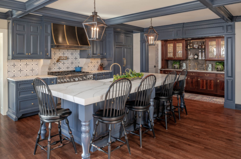 meadowbank-designs-kitchen-design-blue-cabinets-marble-island-countertop