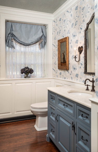 powder-room-bathroom-intreior-design-blue-gray-cabinets-wallpaper